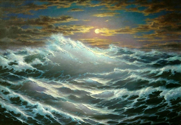 Cloud Ocean Storm Sky Painting Wave Moon Night Art Picture Gallery