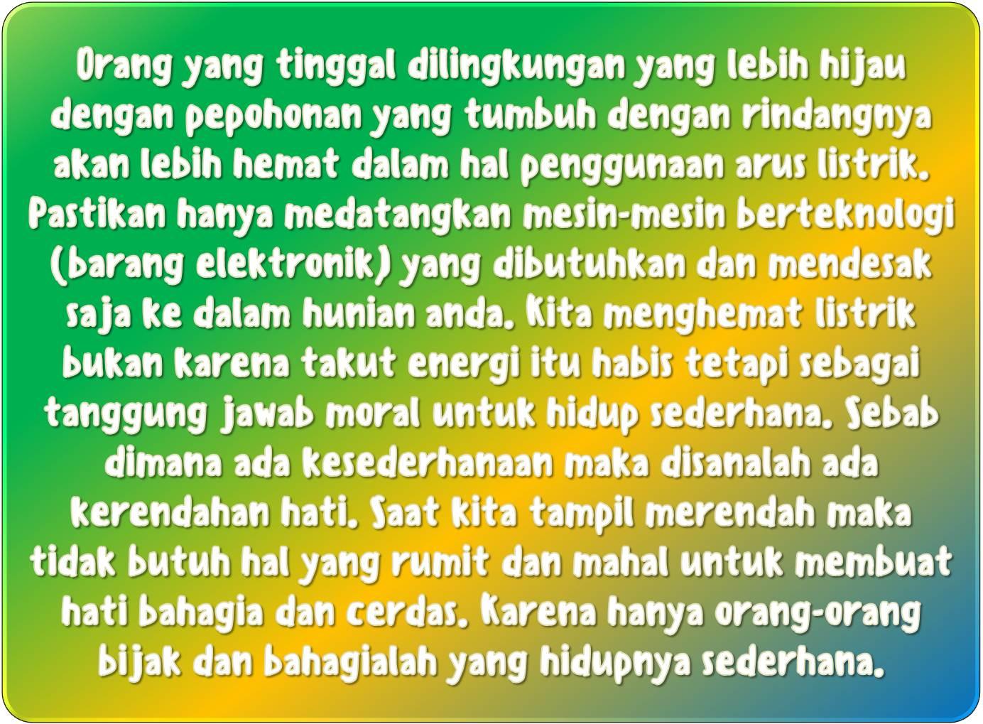 hidup sederhana menghemat listrik untuk