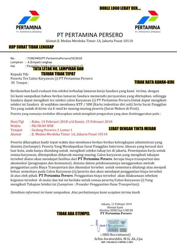 Contoh Penipuan Surat Undangan Rekrutmen PT Pertamina Persero Dari Oknum Yang Tidak Bertanggung Jawab