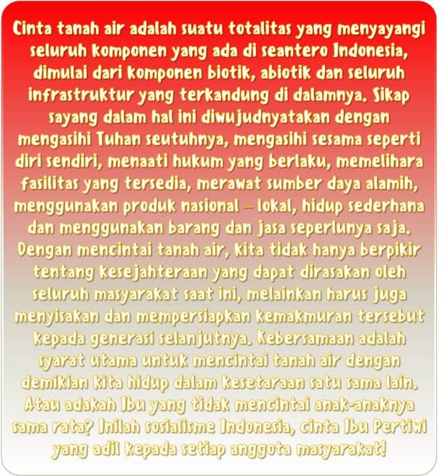 Sikap Cinta Tanah Air Indonesia Secara Totalitas