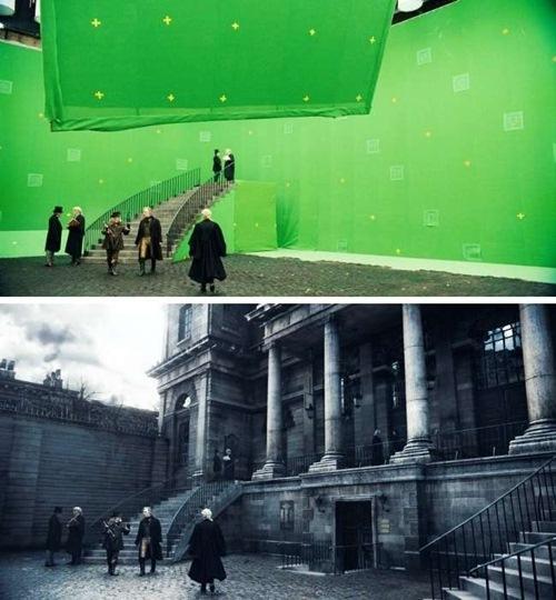 Adegan di film Sweeney Todd - The Demon Barber of Fleet Street yang ternyata gedungnya merupakan efek dari CGI