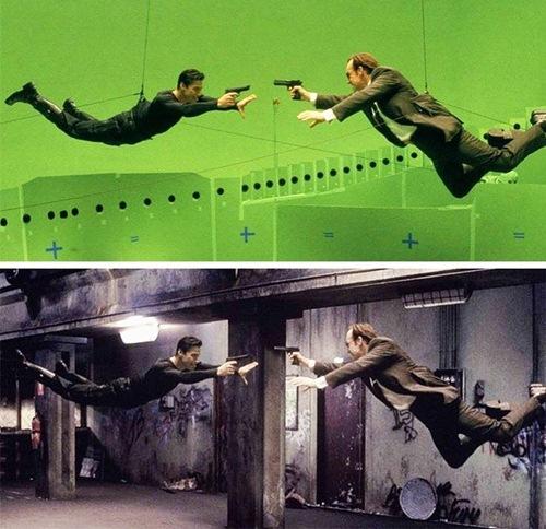 Adegan di fim The Matrix, saat pertarungan slow motion. Ternyata aslinya menggunakan tali dan berlatar belakang green screen