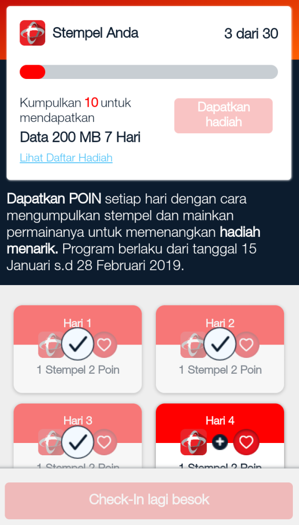 Cara Dapat Bonus Kuota Internet, Telepon, SMS dan Koin-Uang Gratis Dengan Setiap Hari Check In