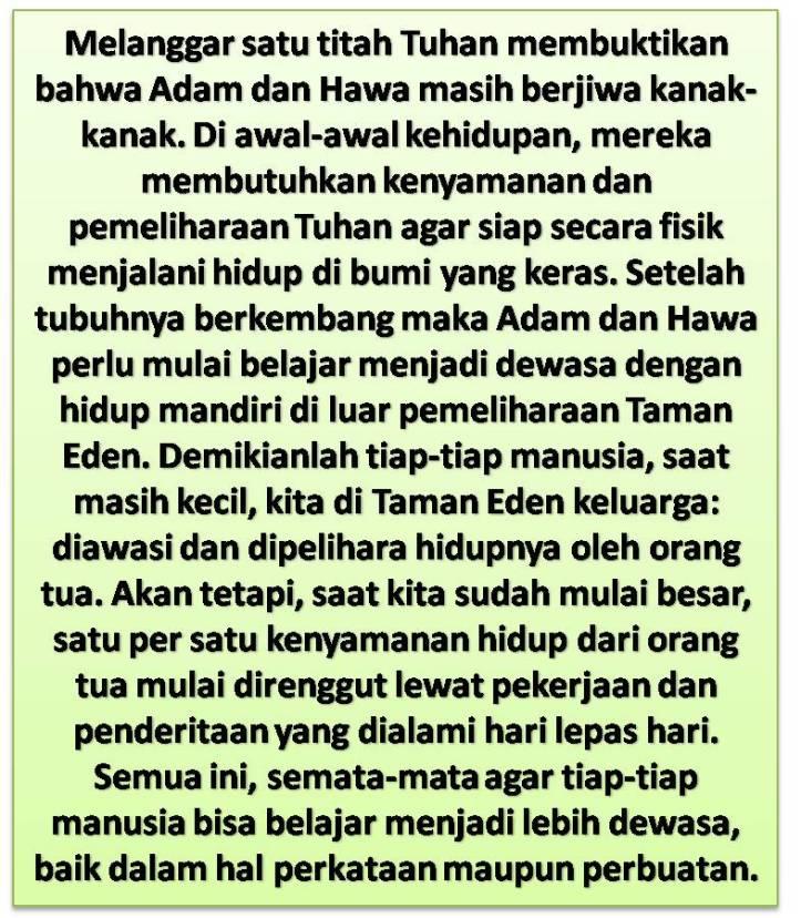 Pendewasaan Manusia Dan Kisah Adam Dan Hawa Di Taman Eden