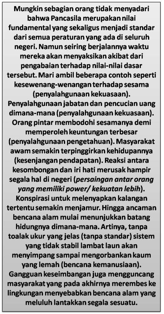 Pancasila Adalah Standar Semua Aturan Yang Ada Di Indonesia